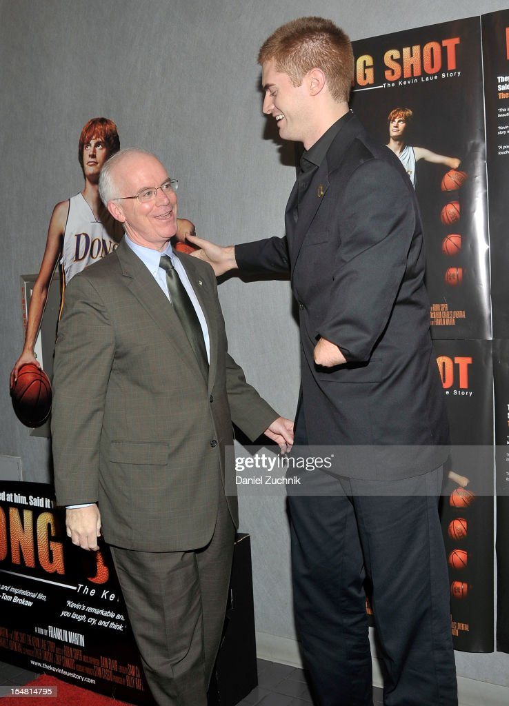 Manhattan College President Brennan O'Donnell and Kevin Laue attend the 'Long Shot: The Kevin Laue Story' New York Premiere at Quad Cinema on October 26, 2012 in New York City.