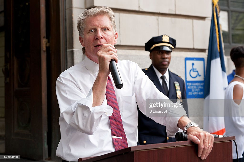 Manhattan District Attorney Cyrus R. Vance, Jr. (L) attends National Night Out on the streets of Manhattan on August 7, 2012 in New York City.