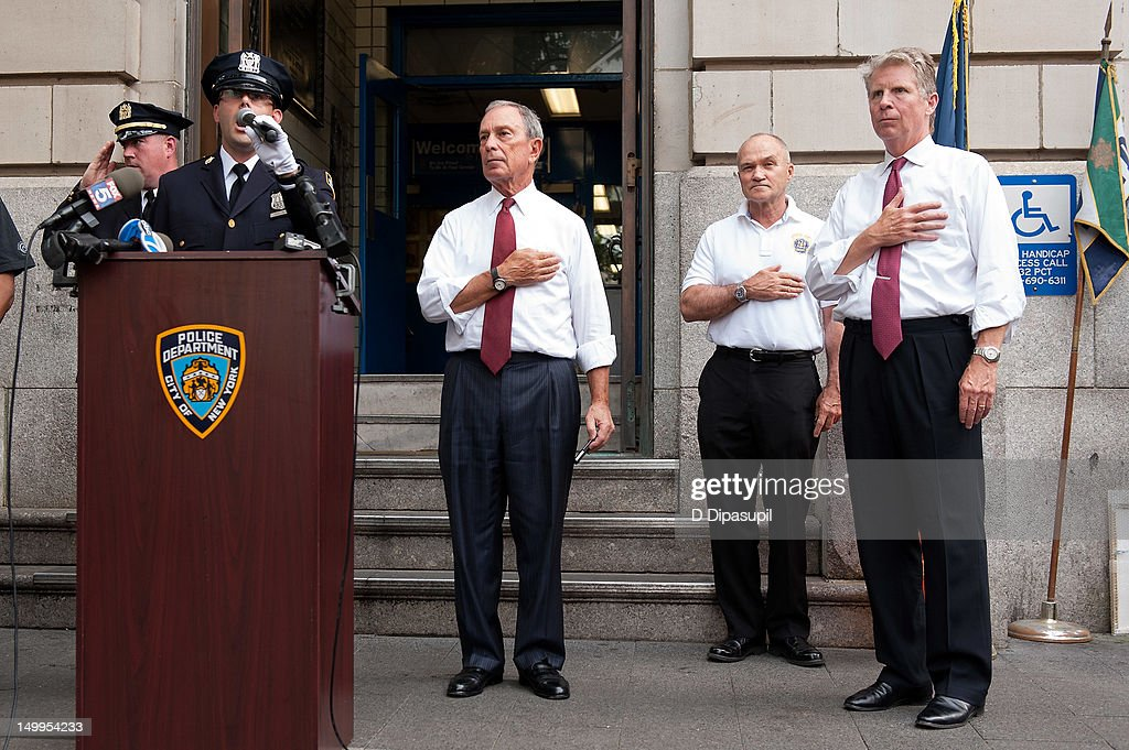 Manhattan District Attorney Cyrus R. Vance, Jr., New York City Police Commissioner Raymond W. Kelly, and New York City mayor Michael R. Bloomberg attend National Night Out on the streets of Manhattan on August 7, 2012 in New York City.