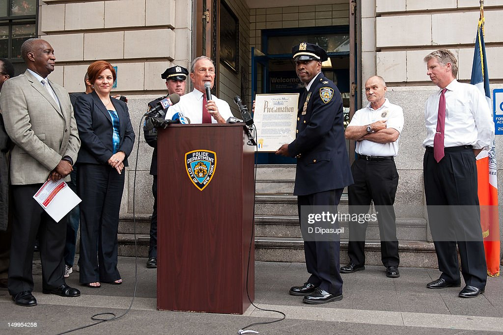 Manhattan District Attorney Cyrus R. Vance, Jr., New York City Police Commissioner Raymond W. Kelly, New York Police Department Inspector <a gi-track='captionPersonalityLinkClicked' href=/galleries/search?phrase=Rodney+Harrison&family=editorial&specificpeople=211203 ng-click='$event.stopPropagation()'>Rodney Harrison</a>, New York City mayor Michael R. Bloomberg, and New York City Council Speaker Christine C. Quinn (2nd L) attend National Night Out on the streets of Manhattan on August 7, 2012 in New York City.
