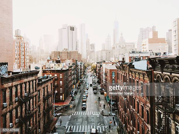 Manhattan downtown skyline seen from above, New York City, USA