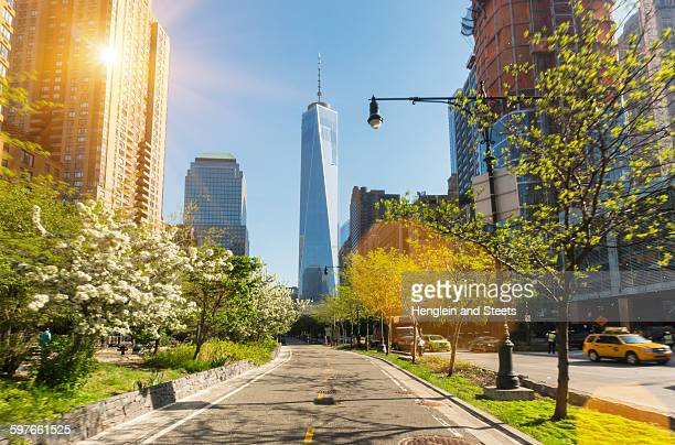 Manhattan financial district cycle path and One World Trade Center, New York, USA