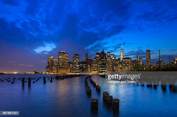 Manhattan financial district skyline and One World Trade Centre at dusk, New York, USA