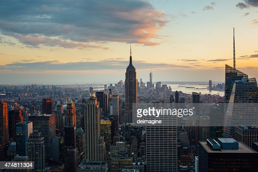 Manhattan in New York  aerial view at twilight