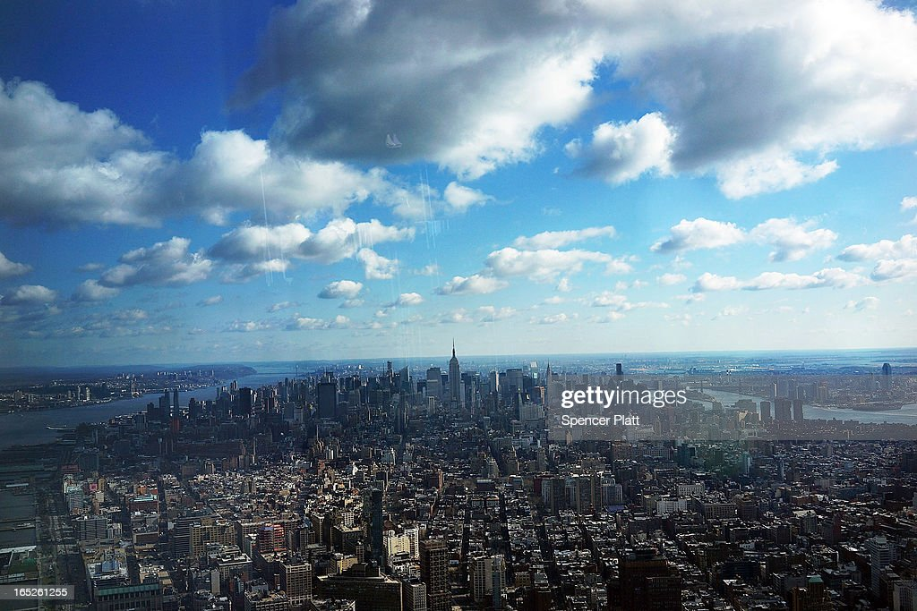 Manhattan is seen from One World Observatory from the 100th floor of One World Trade Center at the Ground Zero site on April 2, 2013 in New York City. One World Observatory, which is situated more than 1,250 feet over lower Manhattan, will open to the public in 2015 and will include a pre-show theater, multiple spaces that allow for panoramas of the New York City region and numerous dining options. When completed, One World Trade Center will be the tallest building in the Western Hemisphere at 1776 feet.