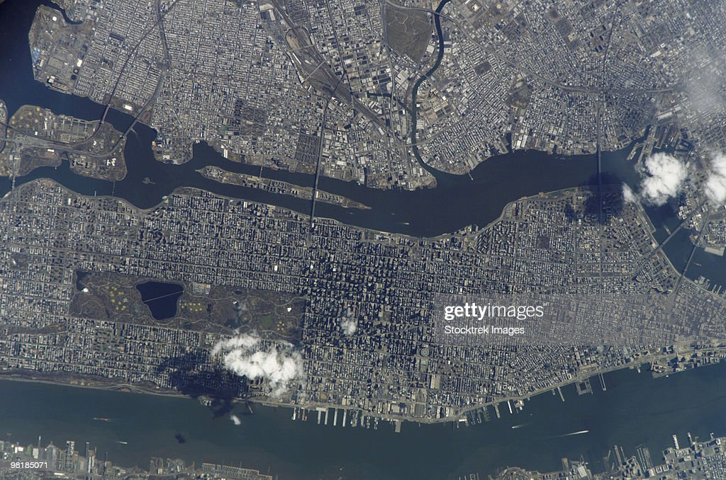 Manhattan Island and its easily recognizable Central Park.
