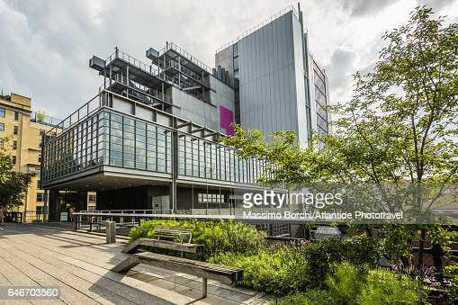 Manhattan, Meatpacking District, High Line Elevated Park and Whitney Museum of American Art (architect Renzo Piano) on the background : Stock Photo