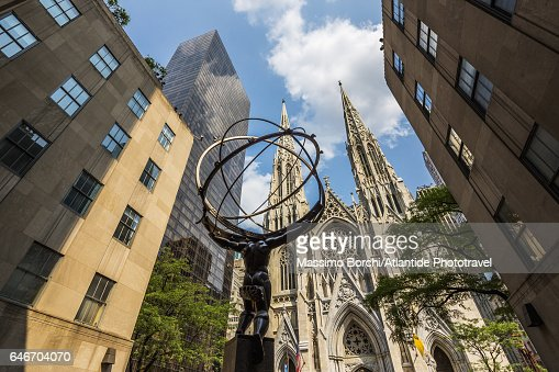 Manhattan, Midtown, Fifth (5th) Avenue, the Atlas Statue of Rockefeller Center and St Patrick Cathedral : Stock Photo