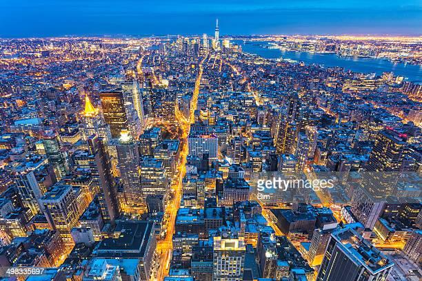 マンハッタン、ニューヨーク、上空から見た夜のホテル