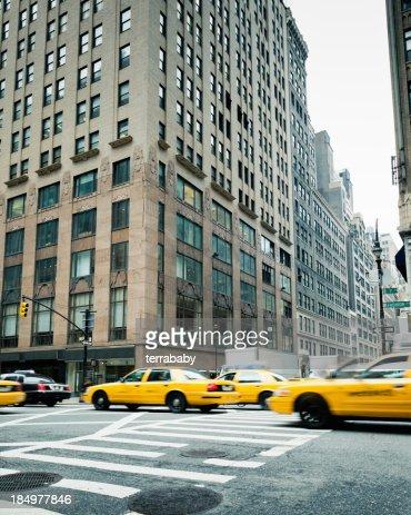 Manhattan New York City Cabs on Fashion Avenue