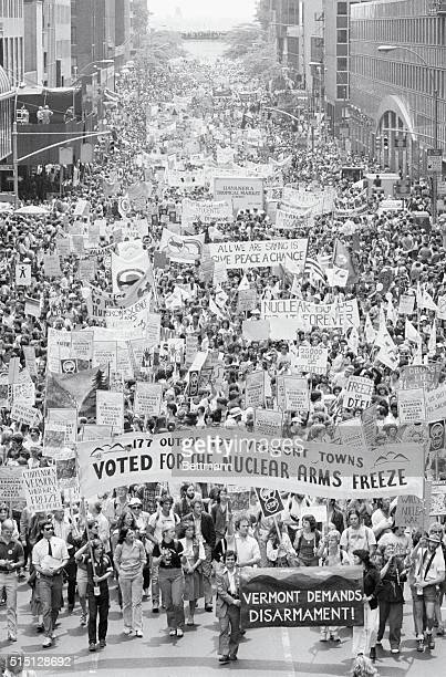 Manhattan New York New York Crowds of people march on a street in New York for a rally against nuclear arms