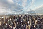 Manhattan Skyline and Blockchain Concept