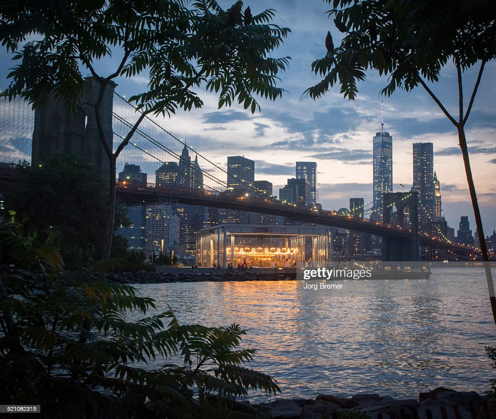 Manhattan skyline and carousel