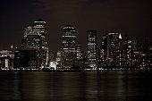 Manhattan skyline at night in New York City, NY, USA