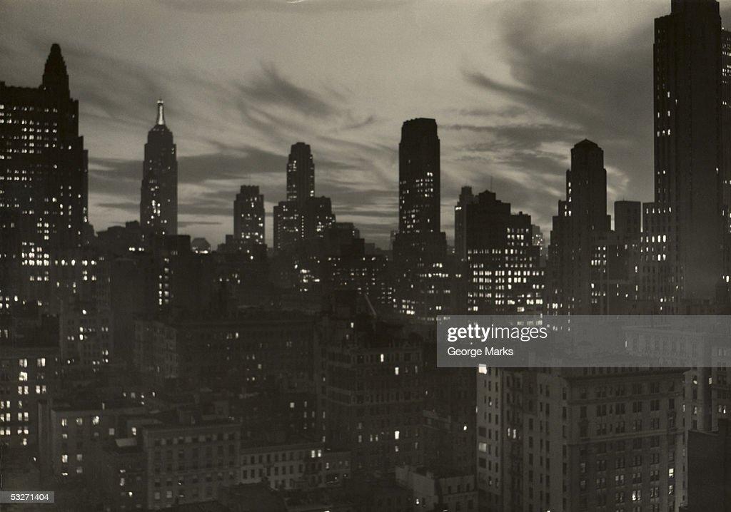 Manhattan skyline at night, NYC : Stock Photo