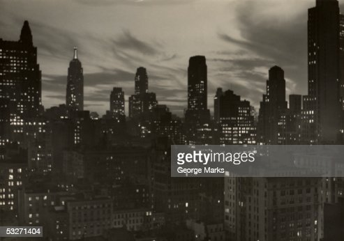 Manhattan skyline at night, NYC : Stock Photo