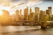 Manhattan Skyline at Sunset New York City