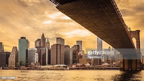 Panorama de Manhattan au coucher du soleil