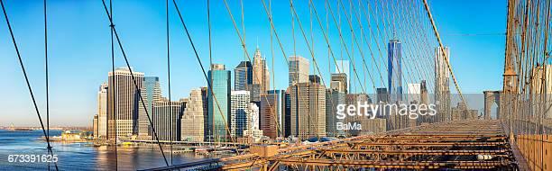 Manhattan Skyline, Brooklyn Bridge, Panoramic View