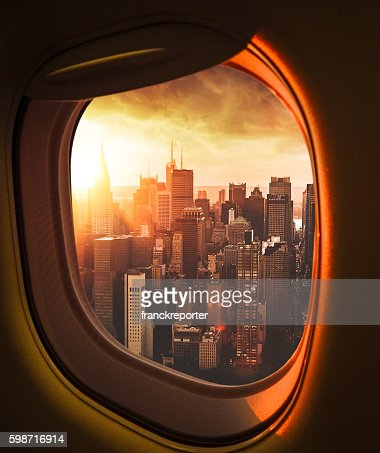 Manhattan skyline from an aerial view from the porthole