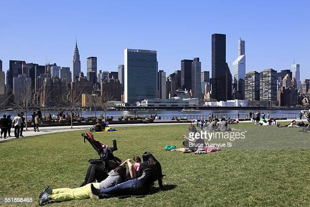 Manhattan skyline from Queens park