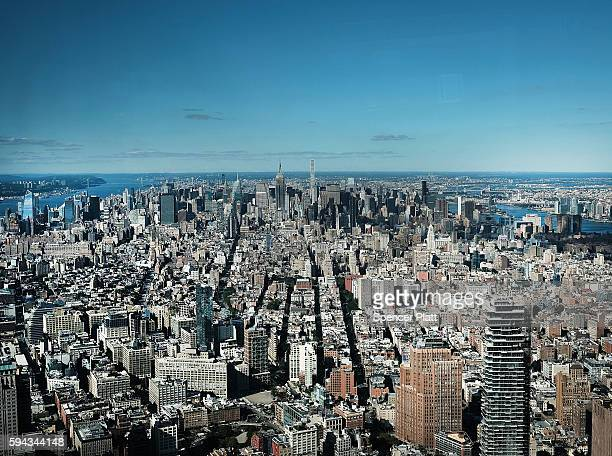 Manhattan skyline seen from One World Observatory at One World Trade Center on August 22 2016 in New York CityThe observation deck sits atop the...
