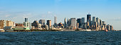 Manhattan skyline view from a boat along the Hudson river