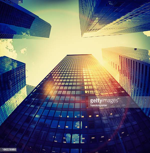 Manhattan skyscraper against Sun