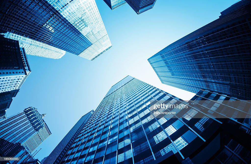 Grattacieli di Manhattan con retroilluminazione : Foto stock