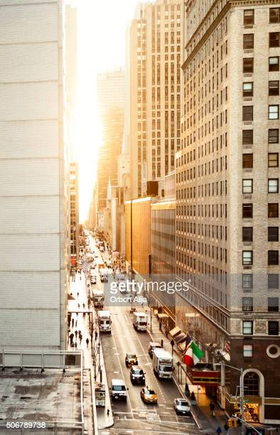 Manhattan streets view from above