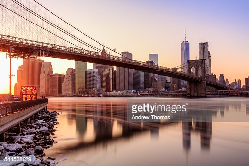 Manhattan sunset from Brooklyn bridge park
