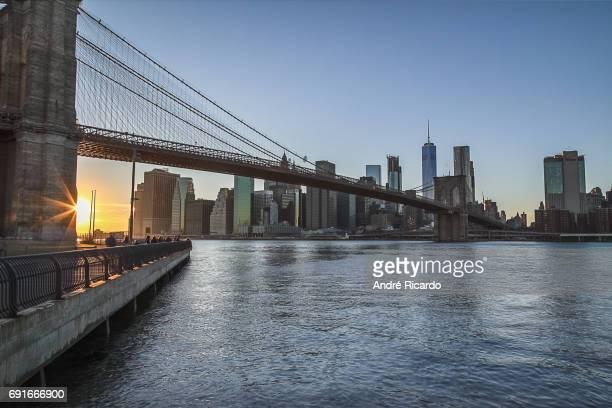 Manhattan sunset from Brooklyn Bridge