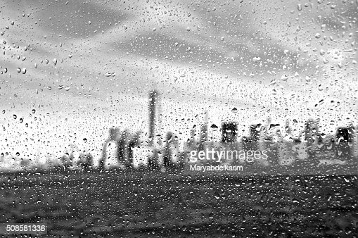 Manhattan under drops : Stock Photo