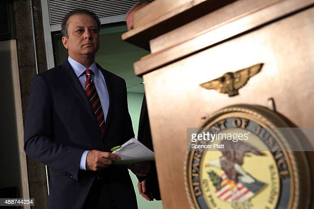 Manhattan US Attorney Preet Bharara enters a news conference in Manhattan to announce that Federal prosecutors have reached an agreement with General...