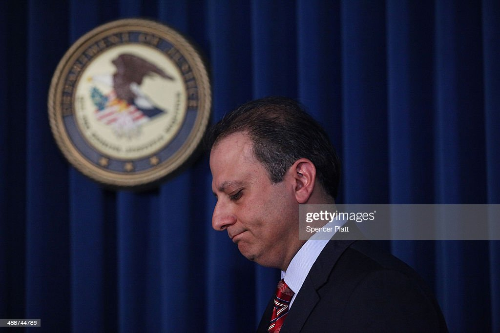 Manhattan US Attorney Preet Bharara pauses at a news conference in Manhattan to announce that Federal prosecutors have reached an agreement with...