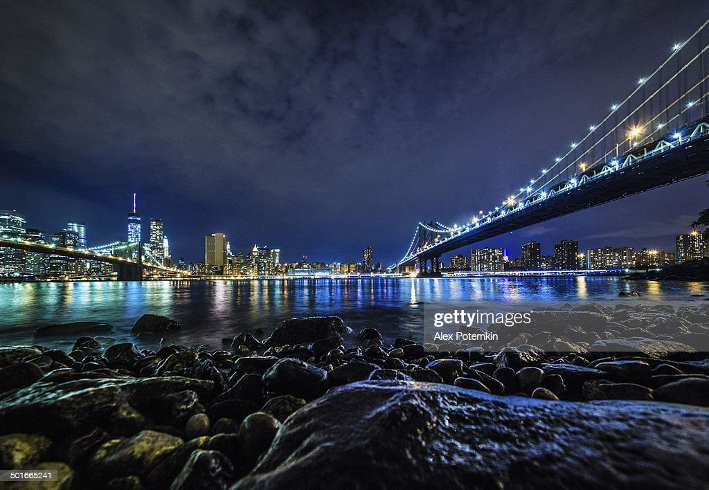 Manhattan view from Brooklyn at the night