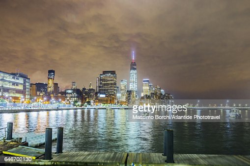 Manhattan, view of Lower Manhattan with the One World Trade Center : Stockfoto