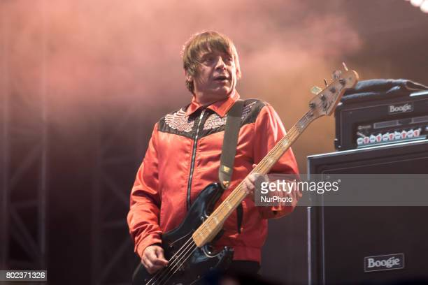 Mani of the British iconic rock band The Stone Roses perform on stage at Wembley Stadium London on June 17 2017 The band consists in Ian Brown John...
