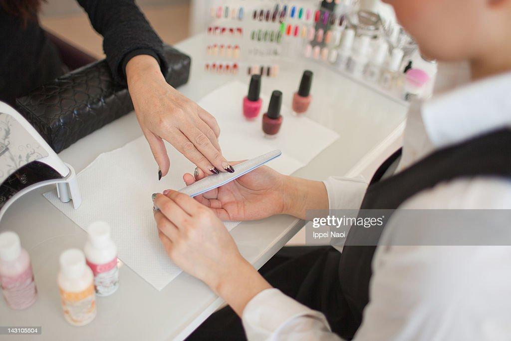 Manicure Treatment At Nail Spa Tokyo Japan Stock Photo ...