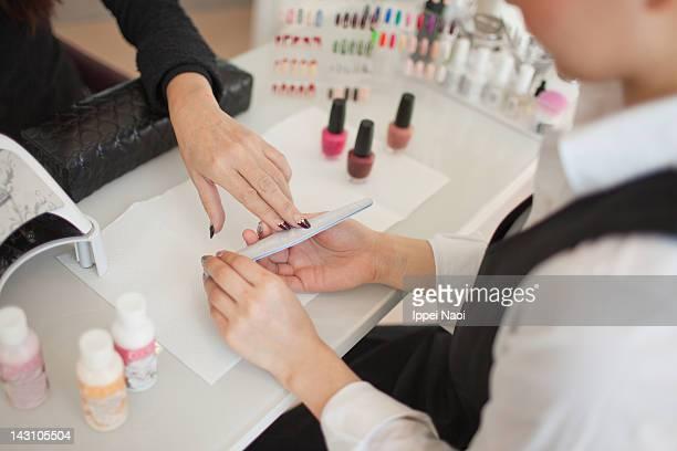 Manicure treatment at nail spa, Tokyo, Japan