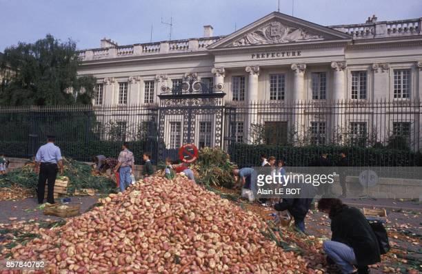 Manifestation des maraichers de Nantes le 10 juin 1992 a Nantes France