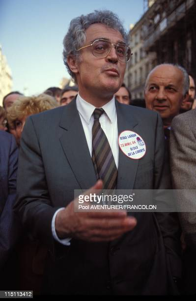 Manifestation for the public school in Paris France on April 26 1984 Lionel Jospin