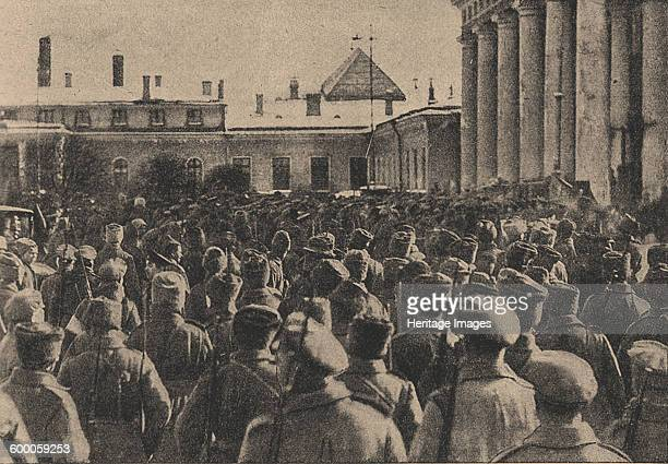 Manifestation of revolutionary troops in front of the State Duma during the February Revolution 1917 Found in the collection of State History Museum...