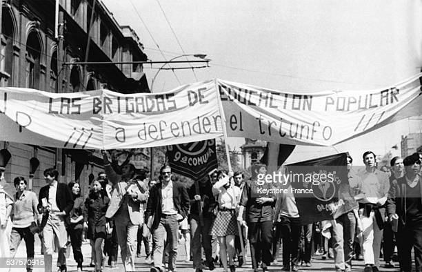 Manifestation of the Chilean Student Federation against the fascism in Chile in November 1970