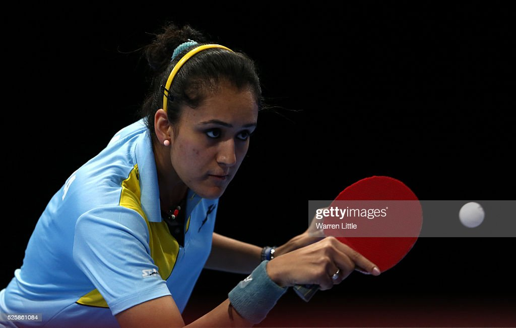 Manika Batra of India in action during the Women's Singles Challenge against Jiang Huajun of Hong Kong during day two of the Nakheel Table Tennis Asian Cup 2016 at Dubai World Trade Centre on April 29, 2016 in Dubai, United Arab Emirates.