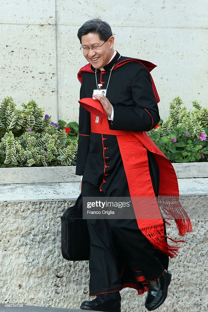 Manila Archbishop Cardinal Luis Antonio Tagle arrives at the Synod Hall for the opening of the Synod on the themes of family on October 6 2014 in...