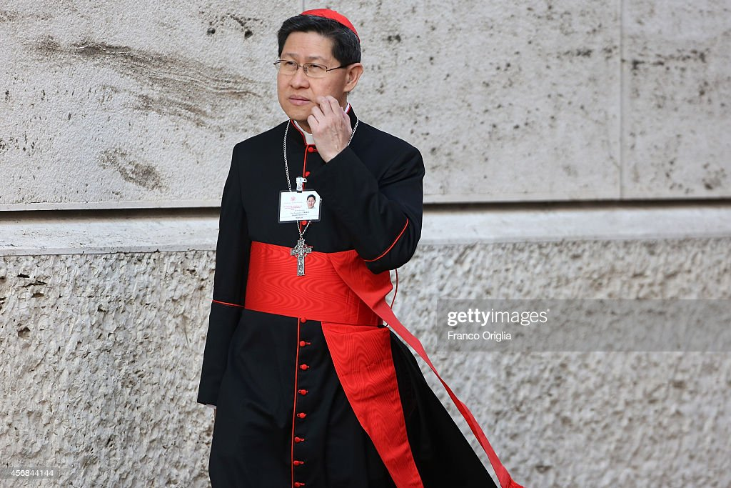 Manila Archbishop Cardinal Luis Antonio Tagle arrives at the Synod Hall for the third day Synod on the themes of family on October 8 2014 in Vatican...