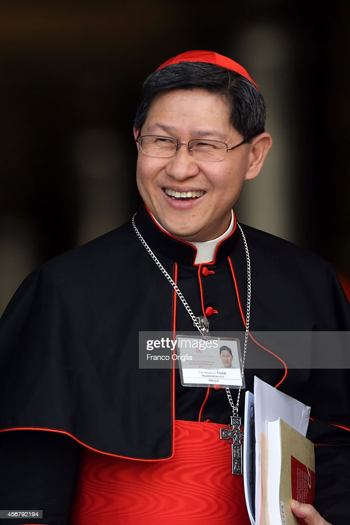 Manila Archbishop cardinal Luis Antonio Tagle leaves the Synod Hall at the end of a session of the Synod on the themes of family on October 7 2014 in...