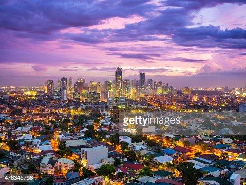 マニラ夕暮れの街を Bonafacio 国際都市、Ortigas