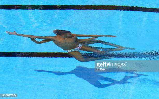 Manila Flamini and Giorgio Minisini of Italy compete during the Synchronised Swimming Mixed Duet Technical final on day four of the Budapest 2017...
